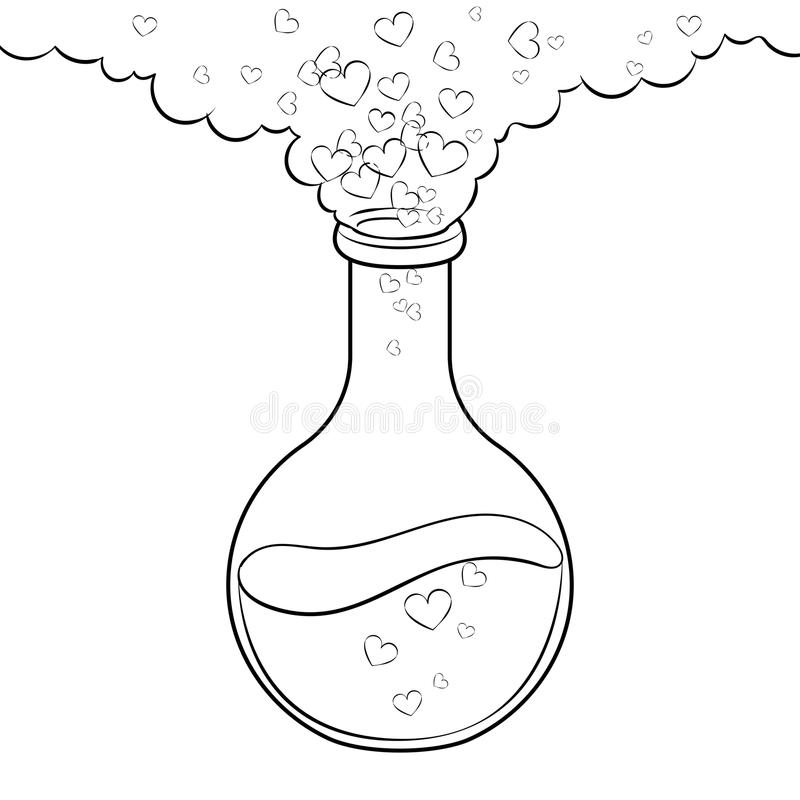 Love Potion Coloring Book Vector Stock Vector - Illustration of ...
