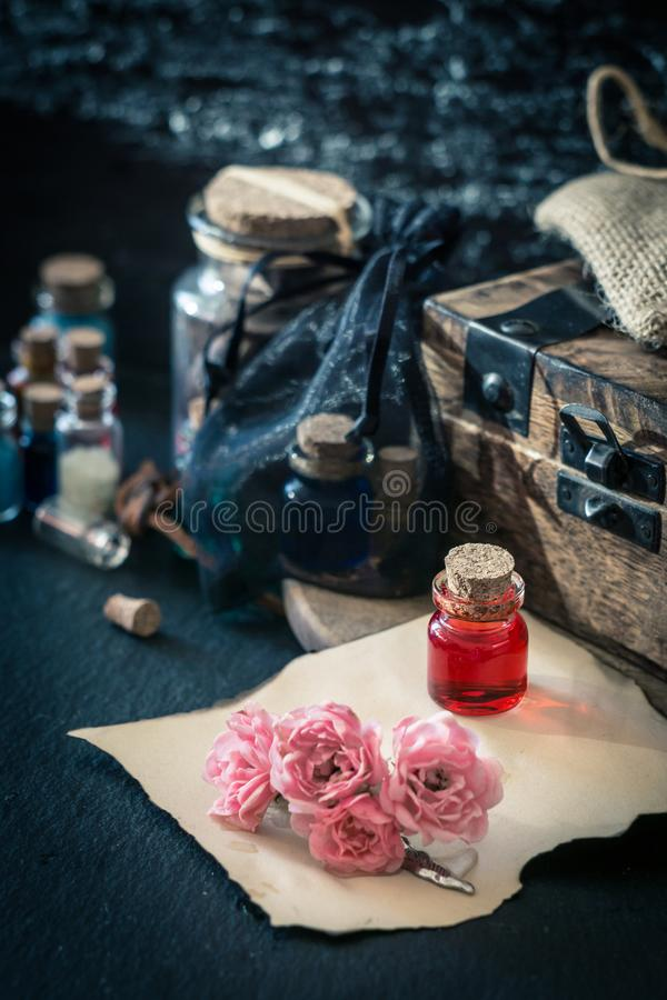 Love potion, red drink in bottle. Magic concept royalty free stock photography