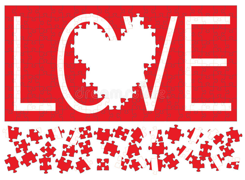 Love Puzzle III. Illustration of a red jigsaw puzzle with the word love in white missing a heart shaped section royalty free illustration