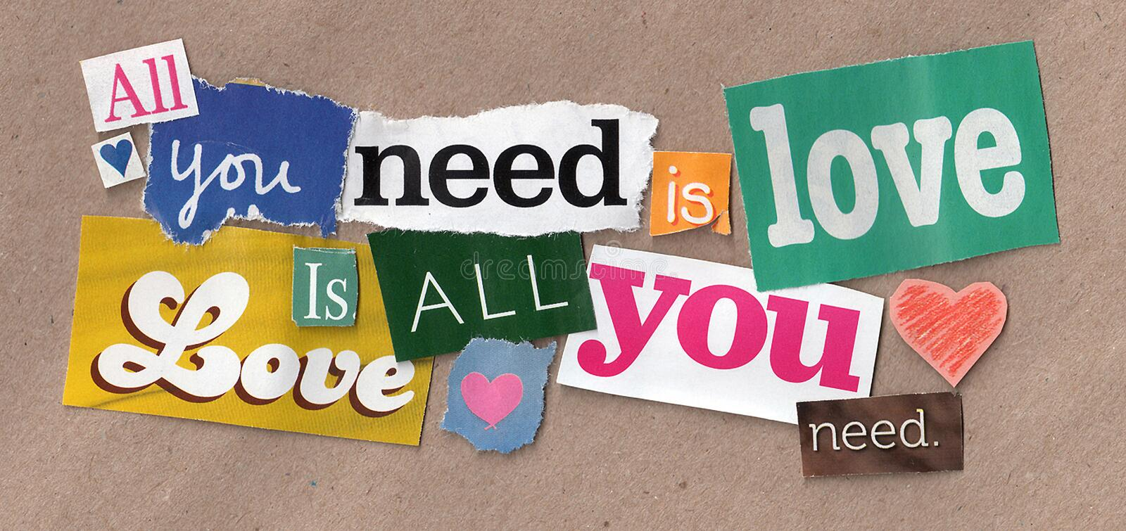 Love quote cuttings royalty free stock image