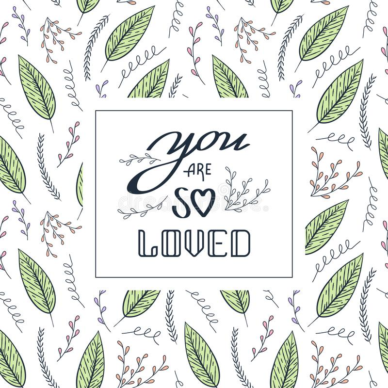 Love quote Vector Seamless Contour Floral Pattern. Hand Drawn Colorful Floral Texture, Decorative Leaves royalty free illustration