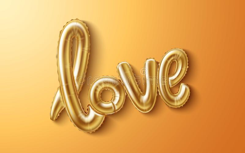 Vector love realistic rubber balloon on gold royalty free illustration