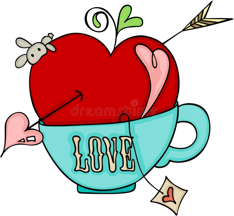 Love red apple of cupid on a cup of tea stock illustration