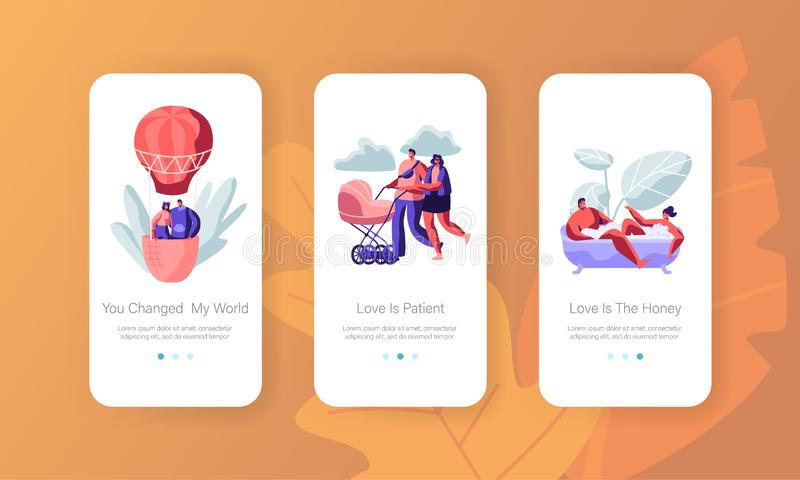 Love, Relation Concept for Mobile App Page Onboard Screen Set. Man and Woman Take Bath, Fly on Air Balloon, Push Baby Stroller. Dating and Family Website or vector illustration