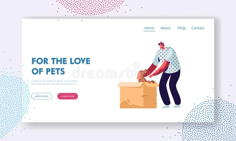 Love and Relations with Animals, People and Pets. Happy Cheerful Man Find Little Puppy in Cardboard Box, Taking him on Hands. Website Landing Page, Web Page vector illustration