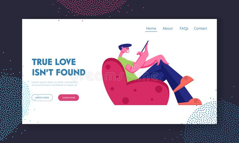 Love and Relations in Internet Landing Page. Young Man Sitting on Armchair Communicating with Girl in Social Media. Love and Relations in Internet Website vector illustration