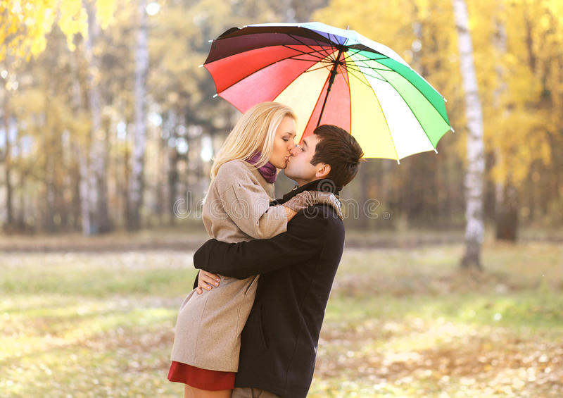 Love, relationship, engagement and people concept - happy couple stock image