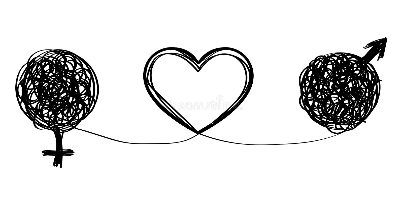 Love and relationships. Vector illustration with symbol of man and woman and their relationship in love. Love and relationships vector illustration