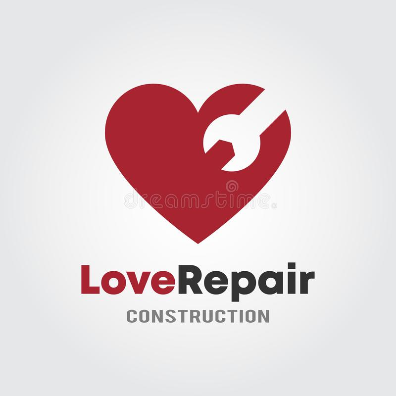 Love Repair Logo Template with heart andwrench design concept for Garage, Repair shop or Construction shop.  vector illustration