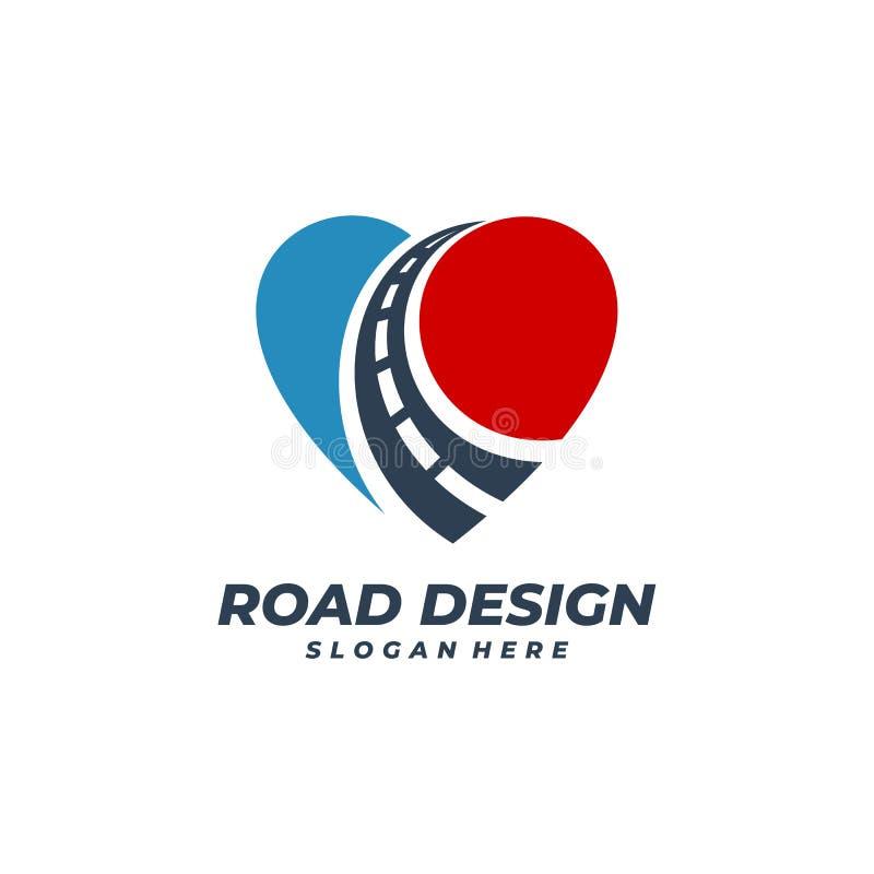 Free Love Road Logo Vector Template, Creative Road Logo Design Concepts Stock Image - 220392231