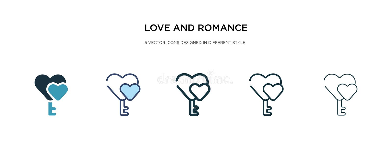 Love and romance icon in different style vector illustration. two colored and black love and romance vector icons designed in royalty free illustration