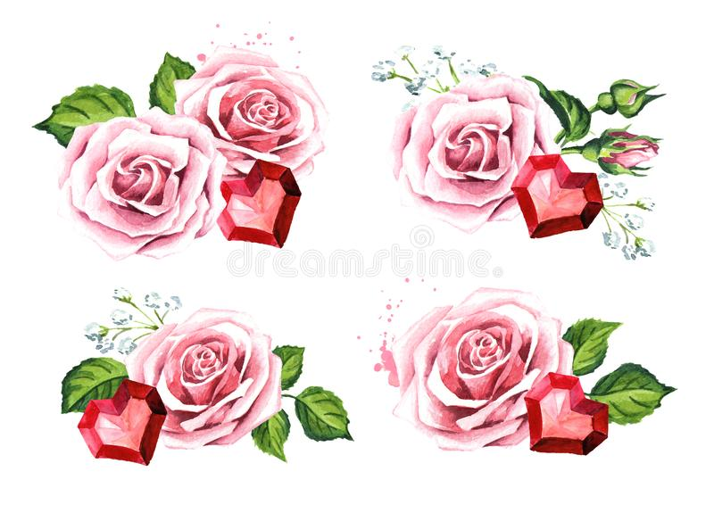Love and romance. Rose flowers and ruby crystal heart. Wedding concept set. Watercolor hand drawn illustration, isolated on white vector illustration