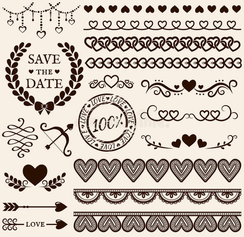 Love, romance and wedding design elements. Vector set. royalty free illustration