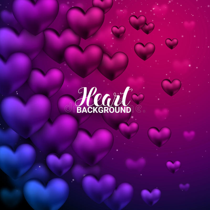 Free Love Romantic 3D Realistic Red Hearts Shining Heart Bokeh Background. Royalty Free Stock Photo - 84842945