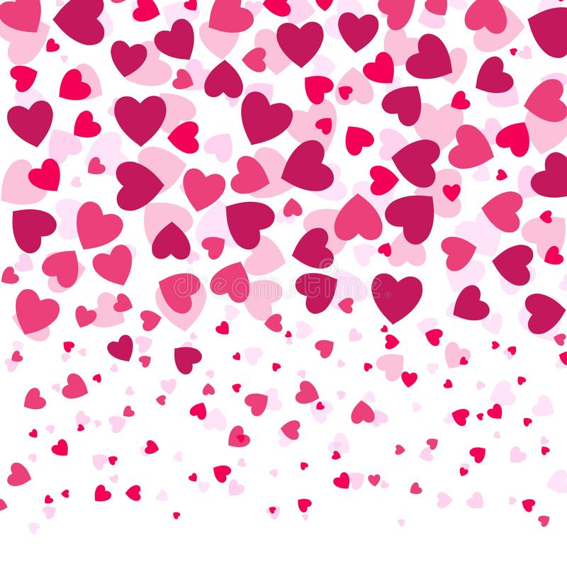 Love romantic background witn colorful hearts, Valentines day pattern, vector illustration