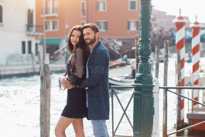 Love - romantic couple in Venice, Italy royalty free stock photography