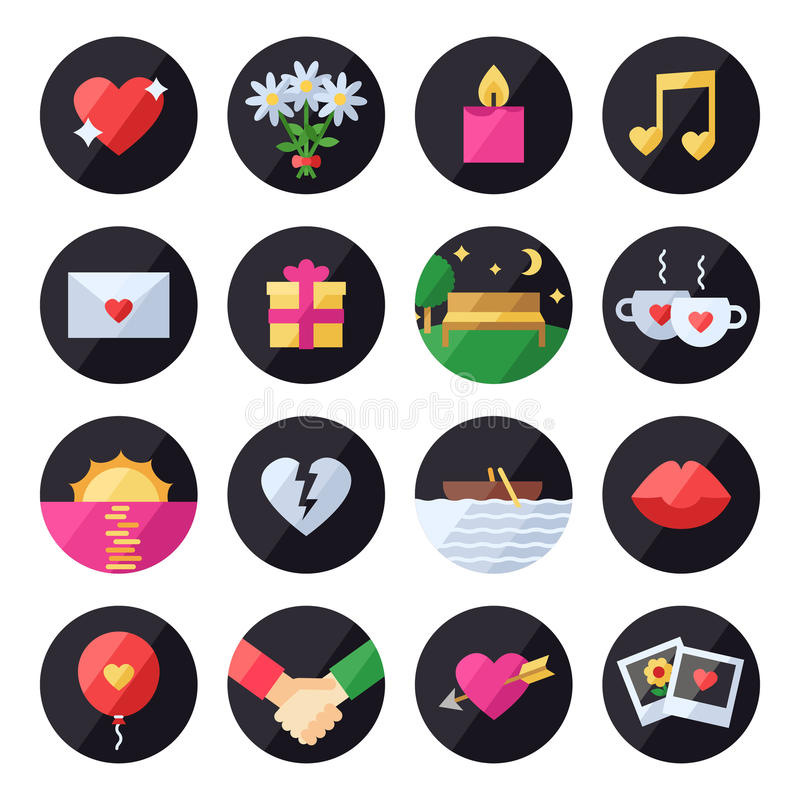 Love and romantic vector set. Icons set. stock illustration