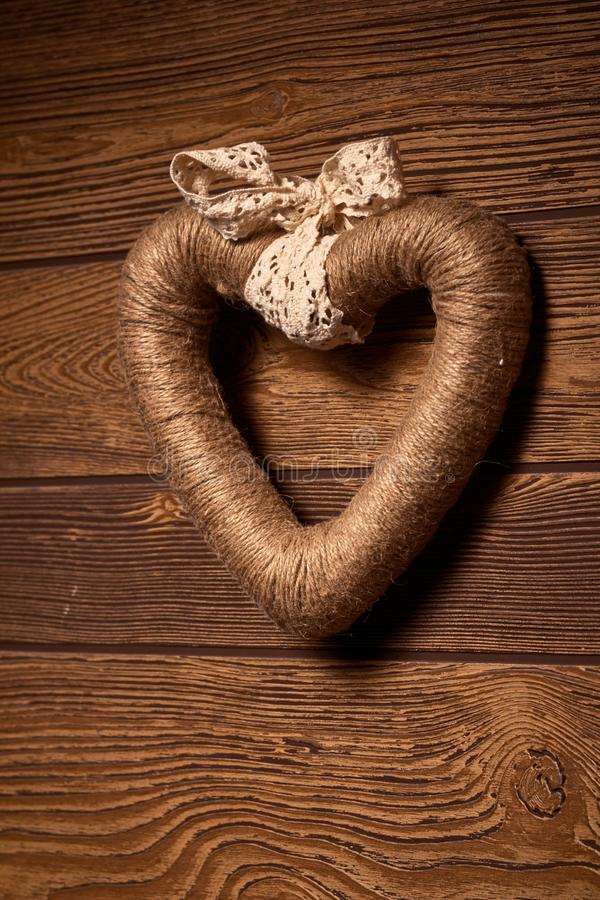 Love. The rope is rolled into a heart shape. stock photo