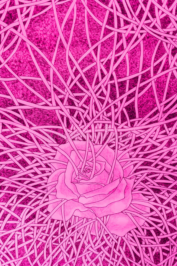 Love rose bondage drawing. Concept vector illustration