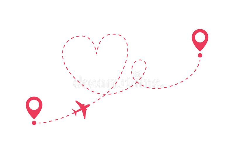 Love Route Plane Route From Departure To Arrival Love Trip Romantic Travel Stock Illustration Illustration Of Symbol Destination 163416170