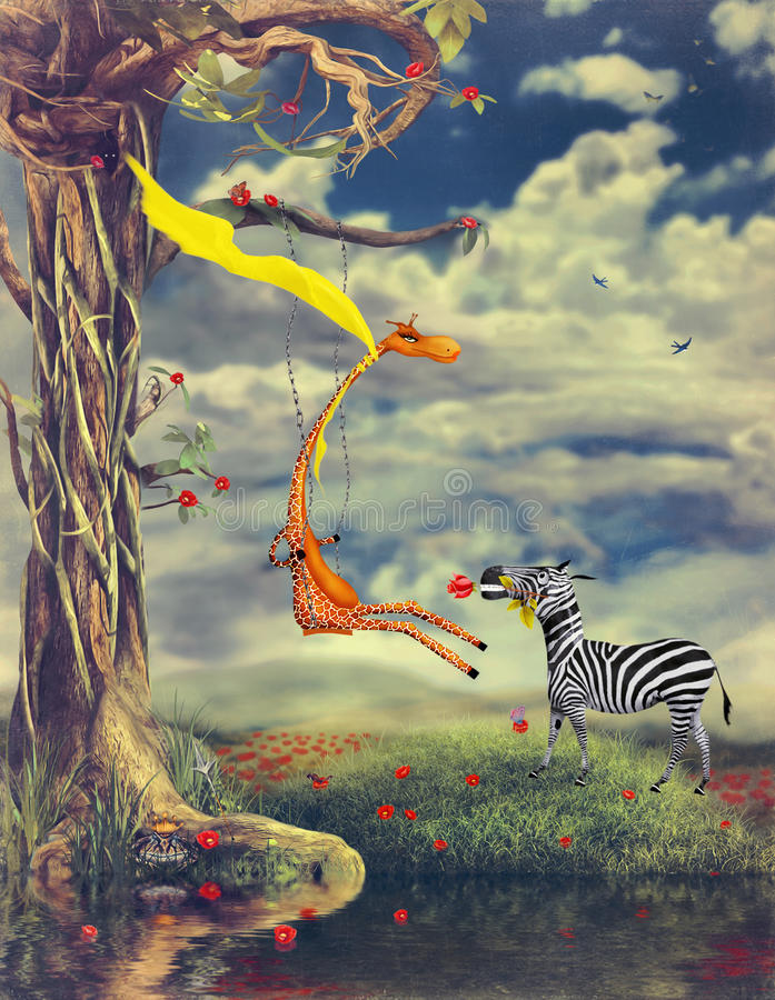 Love without rules. The illustration shows romantic relations between a giraffe and a zebra vector illustration