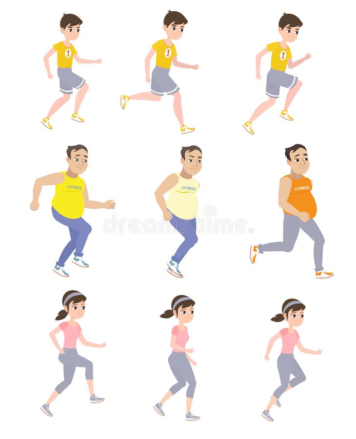 Love of running. People are engaged in running and train to participate in the marathon vector illustration