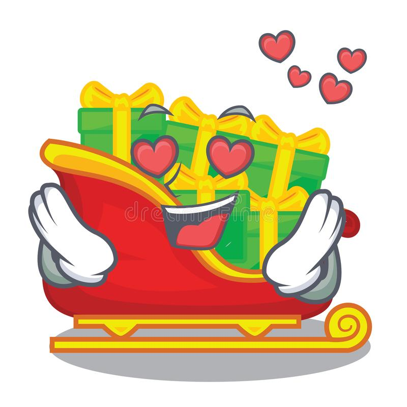 In love Santa sleigh with christmas character gifts stock illustration