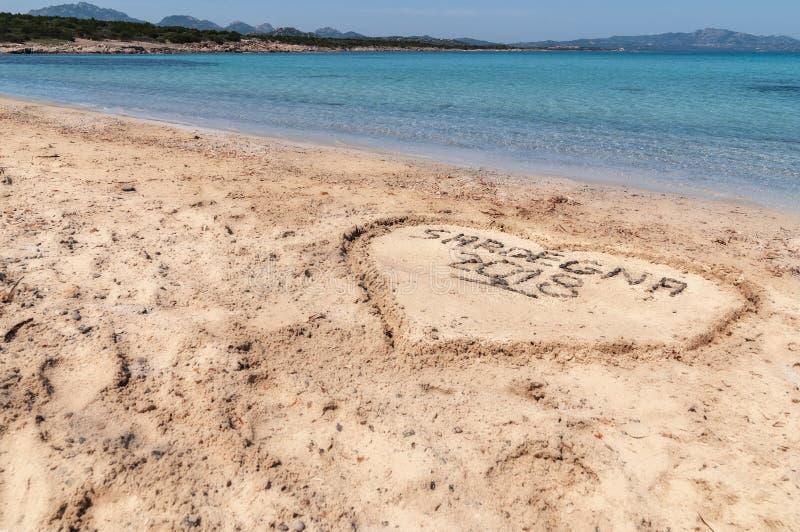 Love sardinia 2018. Summer 2018 The sea in spiaggia delle vacche sardinia with tavolara Sardinia island Italy stock photo