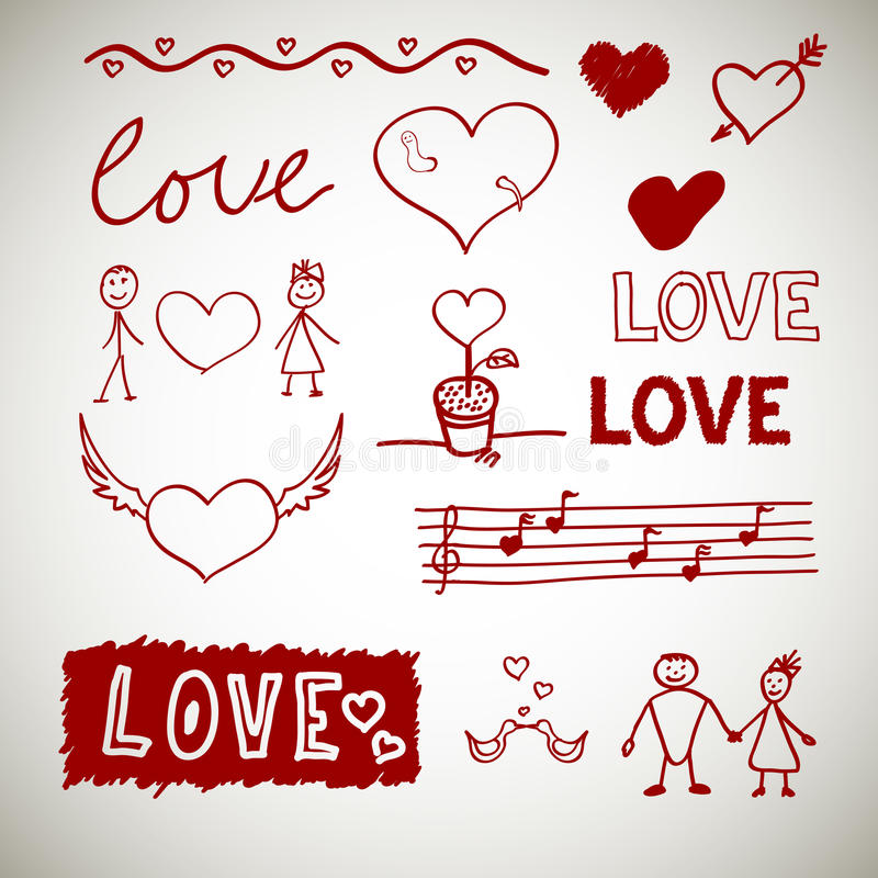 Love sceth, romance doodles stock photo