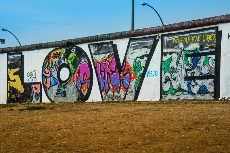 Love Graffiti wall Berlin wall stock image