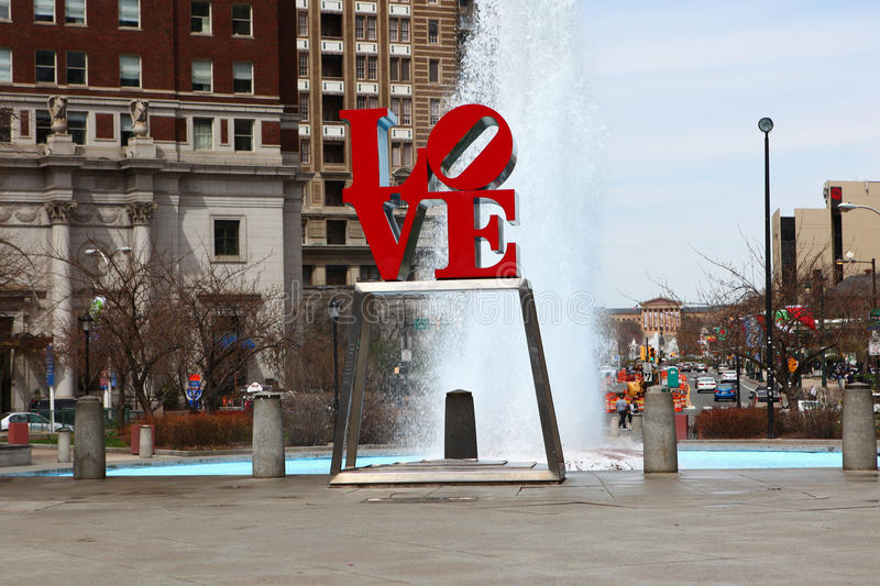 The Love Sculpture, Philadelphia, Pennsylvania, in front of a fountain stock image