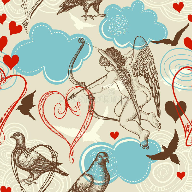 Love seamless pattern royalty free illustration