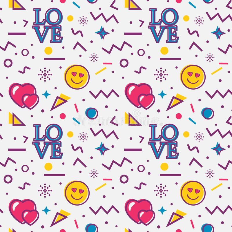 Free Love Seamless Pattern In Memphis Style. Vector Stock Image - 136679701