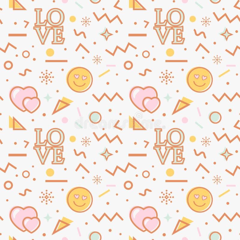 Love seamless pattern in Memphis style. Vector stock illustration