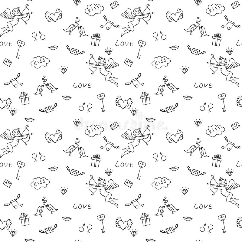 Download Love Seamless Pattern For St Valentines Day Adult Coloring Stock Vector