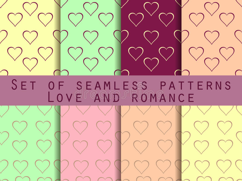 Love. Set of seamless patterns with hearts. Valentine's Day. Rom royalty free illustration