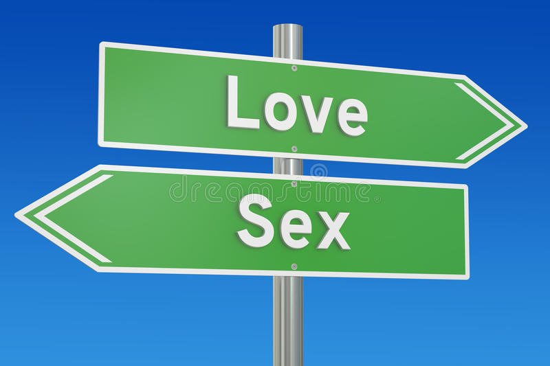 Love or sex concept on the signpost, 3D rendering. Love or sex concept on the signpost vector illustration