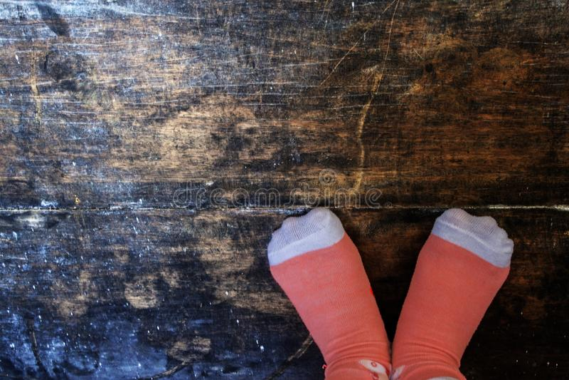 Love Shape Feet in Socks royalty free stock image