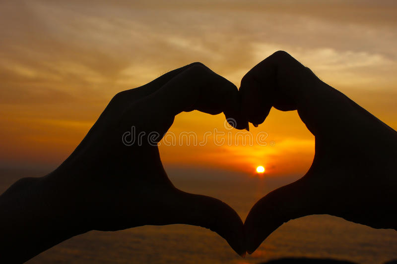 Love shape hand silhouette royalty free stock images