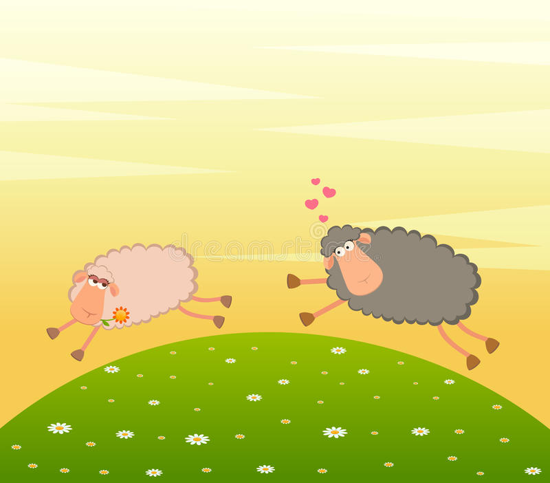 Download Love Sheep Pursues After Other Stock Vector - Illustration of humorous, flower: 15209746