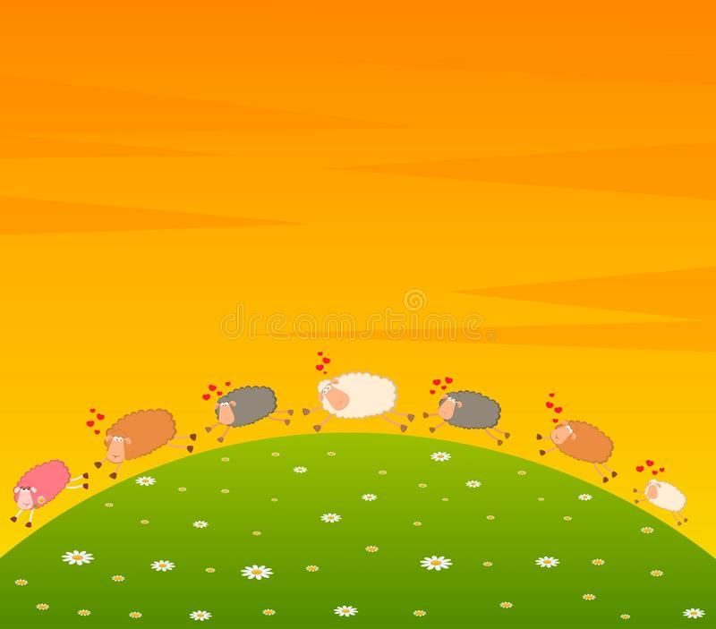 Download Love Sheep Pursues After Other Stock Vector - Image: 15209886