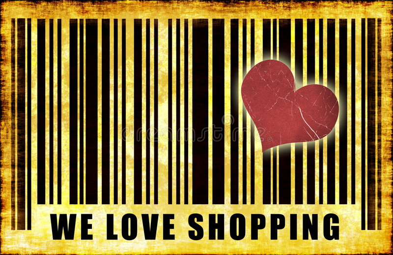 We Love Shopping. Barcode Grunge Abstract Poster stock illustration