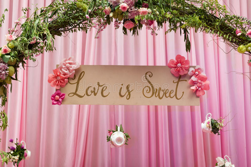 Love sign. At indoor wedding party royalty free stock photo