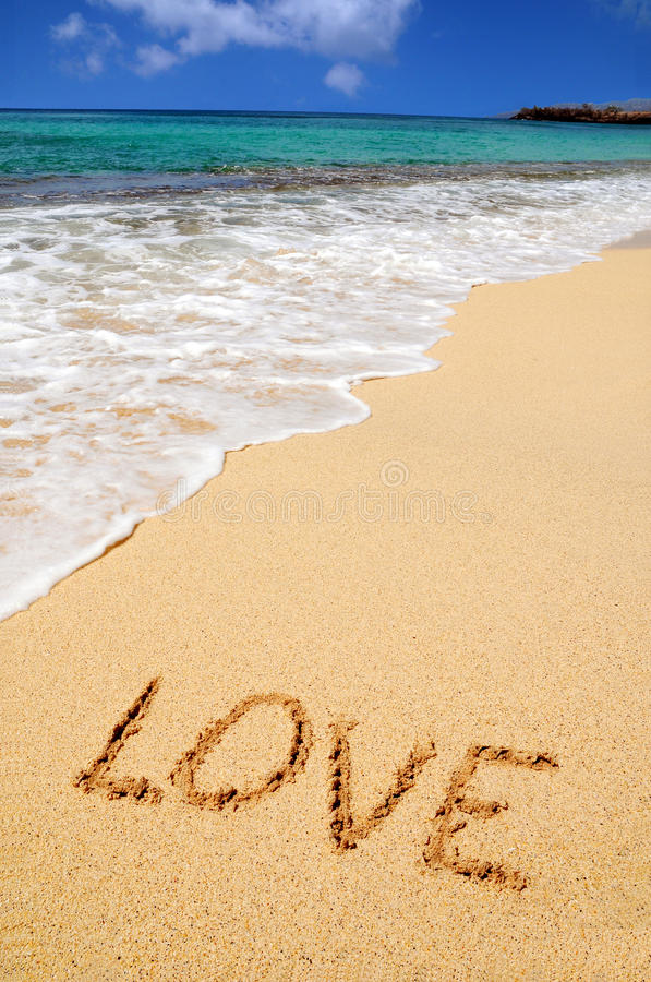 Love sing on the beach stock photo
