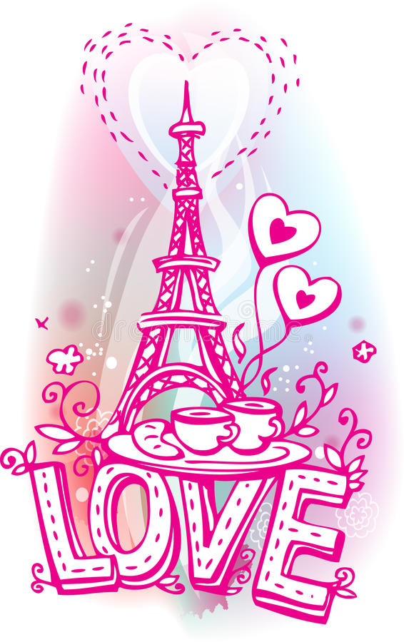 Love sketchy with Eiffel tower. Coffee and croissant stock illustration