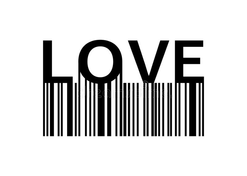 Love slogan with barcode. Print Love for your design. Banner or poster Love with barcode. Eps10 royalty free illustration