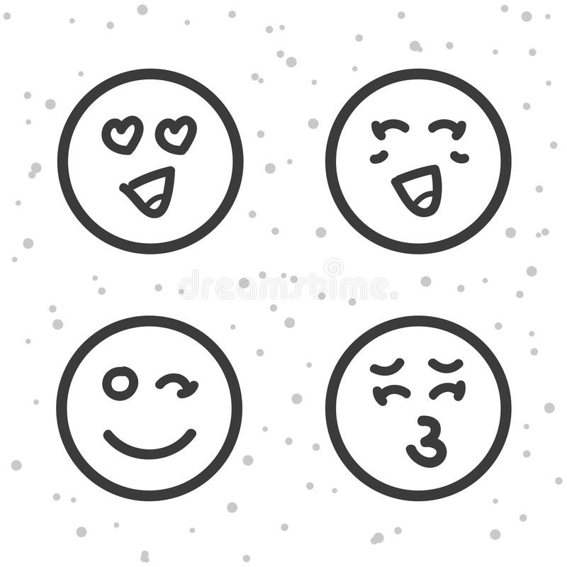 Love Smiley Icons Kiss And Love Emoticons Symbols Stock Vector