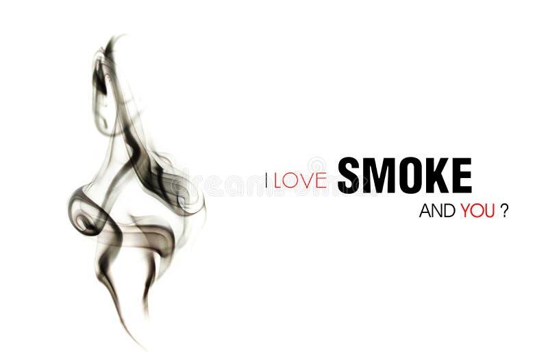 Love Smoke. Dark Smoke pillar light white background vector illustration