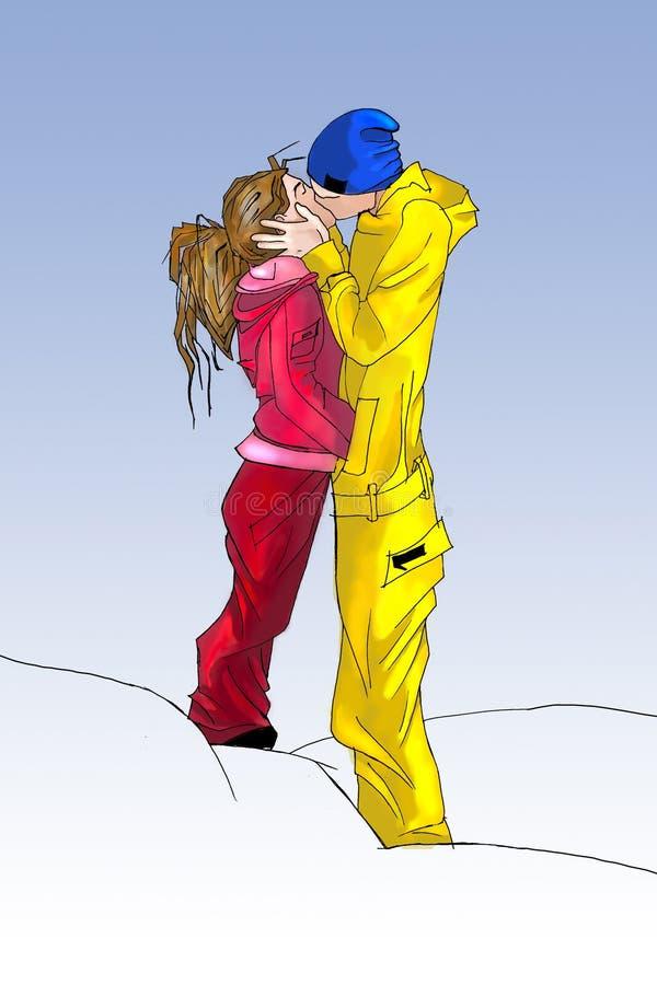 Download Love Snowboard stock illustration. Illustration of kiss - 8545026