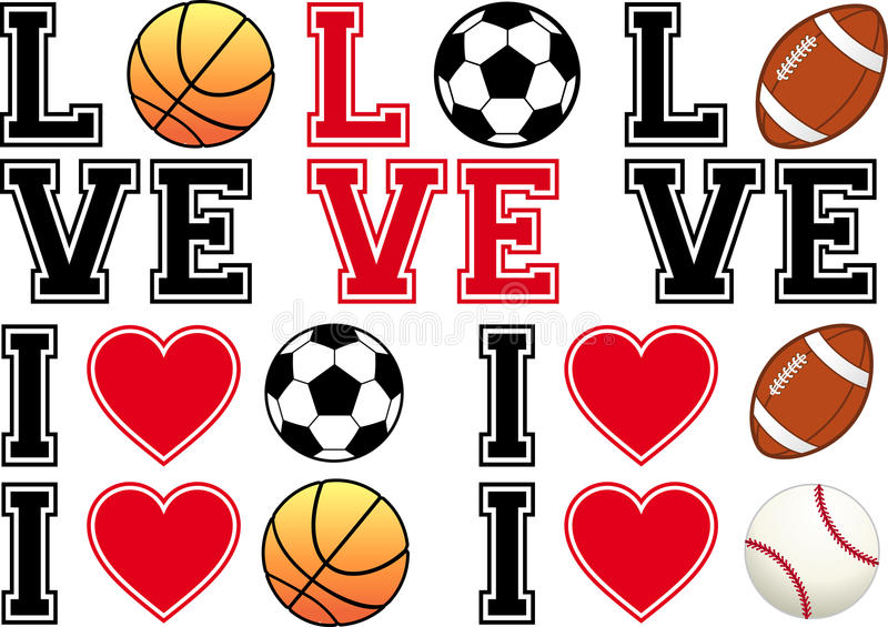 Love soccer, football, basketball, baseball, vecto stock illustration